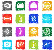 Car shop icons set. Car shop silhouette simply icons in grunge style for user interface design Royalty Free Stock Photography