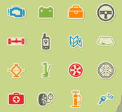 Car shop icons set. Car shop silhouette simply icons for web Stock Image