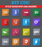 Car shop icons set. Car shop web icons in flat design with long shadows Royalty Free Stock Photo