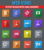 Car shop icons set. Car shop web icons in flat design with long shadows Royalty Free Stock Photos