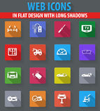 Car shop icons set. Car shop web icons in flat design with long shadows Royalty Free Stock Images