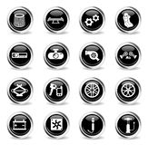 Car shop icon set. Car shop vector icons - black round chrome buttons stock illustration
