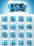 Car shop icon set. Car shop vector icons frozen in transparent blocks of ice stock illustration