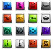 Car shop icon set. Car shop vector icons in square colored buttons royalty free illustration