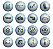 Car shop icon set. Car shop vector icons for web and user interface design royalty free illustration