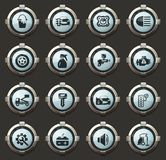 Car shop icons set. Car shop vector stylish round buttons for mobile applications and web vector illustration