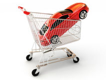 Car shopping. Red luxury sports car in a shopping basket. Part of a series Stock Image