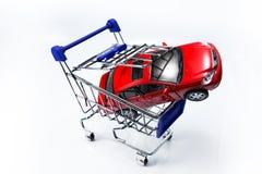 Car in shopping cart stock photos