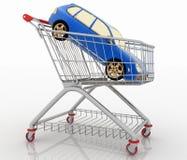 Car shopping, new car in a shopping basket Stock Photo