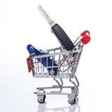 Car in shopping trolley Stock Photos