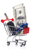 Car in shopping trolley. Over white background Royalty Free Stock Image
