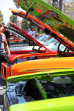 Car show all hoods up Royalty Free Stock Photo