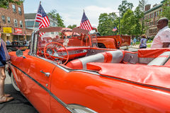 Car show classic car with tail fins Royalty Free Stock Photos
