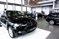 Car showroom. BMW X6, X3 and X1 launch in Timisoara, Romania. All cars were equipped with X drive traction control for the testing of off road capabilities stock photo