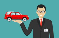 Car showroom. Big sale. Manager sells new business class automobile. Detailed illustration of businessman and red auto Royalty Free Stock Image