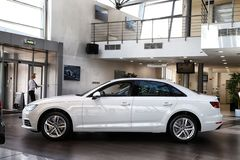 Car in showroom of dealership Audi in Kazan in 2018. Kazan, Russia - May 27, 2018: Car in showroom of dealership Audi in Kazan in 2018 royalty free stock photos