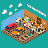 Car Showroom Isometric Illustration. Car showroom with managers and customers computer equipment vehicles interior elements on turquoise background isometric Royalty Free Stock Images