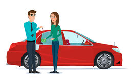 Car Showroom. Manager sells and woman buying a new car. Vector i. Llustration  on white background in flat style Royalty Free Stock Photo