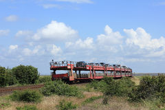 The Car shuttle train leaves the Island of Sylt Royalty Free Stock Image