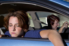 Car Sick. Close up of passenger women being car sick stock image