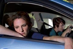 Car Sick. Close up of passenger women being car sick royalty free stock photos
