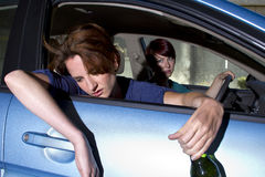 Car Sick. Close up of passenger women being car sick Royalty Free Stock Images