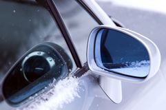 Car side mirror. Is reflected on the glass Stock Photo