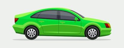 Car. Side view. Green vector family sedan illustration. City automobile and transportation. EPS10 stock illustration