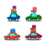Car Side View With Heap Of Luggage. Flat Vector Illustration stock illustration