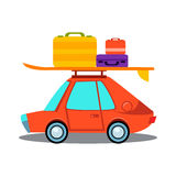 Car Side View With Heap Of Luggage. Flat Vector Illustration royalty free illustration