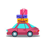 Car Side View With Heap Of Luggage Royalty Free Stock Photos