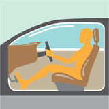 Car side view Person no airbag Royalty Free Stock Photos