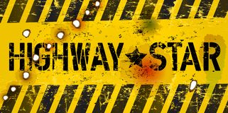 Car sign. Sign Highway Star, grungy style, vector illustration Stock Photography