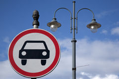 Car Sign and Lamppost Royalty Free Stock Photography