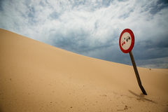 Car Sign in Sand Stock Image