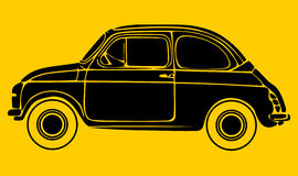 Car silhouete. Small car silhouette isolated on yellow background Stock Image