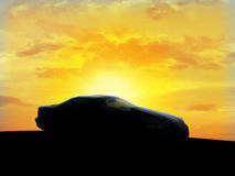 Car silhouette. With the sunshine in the bottom Royalty Free Stock Image