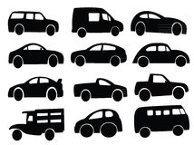 Car silhouette collage set Stock Images