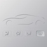Car silhouette with flat icons Royalty Free Stock Photography