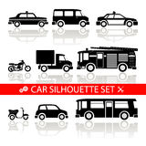 Car silhouette icons set with reflection vector Royalty Free Stock Photos