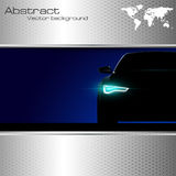 Car silhouette with lights on and abstract backgro Royalty Free Stock Photography