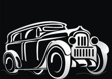 Car. Silhouette of the old car. On a black background. Vector art in EPS format Vector Illustration