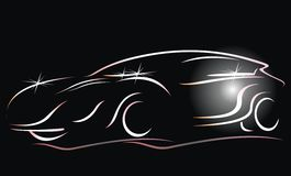 Car. Silhouette of the old car. White silhouette of car sedan on black background. Vector illustration Vector Illustration