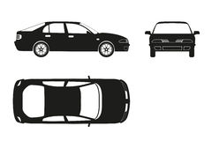 Car silhouette on a white background . Three views : front, side Stock Images