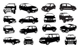 Car silhouettes isolated on white Stock Photography