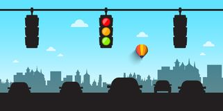 Car Silhouettes with Traffic Lights and Skyline. City Street Vector Illustration Royalty Free Stock Photography