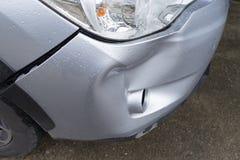 Car silver color crash damage bumper breakdown accident Stock Image