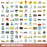 100 car site icons set, flat style. 100 car site icons set in flat style for any design vector illustration Royalty Free Stock Images