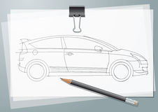 Car Sketch. Project. Drawing on a tracing paper with paper clip and pancil Royalty Free Stock Photography