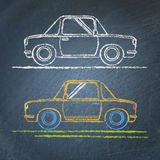 Car sketch on chalkboard Royalty Free Stock Image
